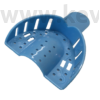 Impression Tray, plastic, blue, with perforations and  grips, 1pc - in several sizes