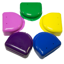 Denture boxes, 7x6x3cm, round, 10+2 pc, plastic,  in several colour