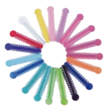 Milk-Teeth Holder Boxes, plastic, with necklace, teeth shaped, 50 pcs, in different colours