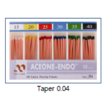 Guttapercha Points, 60pcs, in several sizes, color coded (Taper 0.04)