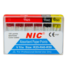 Paper points, 200 pcs, 15-40, color coded  (Taper 0.02)