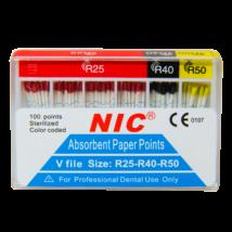 PAPÍR CSÚCS - V-file (Reciproc) papírcsúcs, 100 db-os, steril, színjelzett, R25-40-50 set