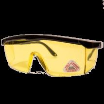 Védőszemüveg fekete tolószárral, sárga lencsével
