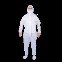 Mosható kapucnis védőoverall, 1 db, fehér színű