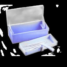 Műszeráztató kád, 1 literes, 26,3 x 11,5 x 7,2 cm, kék