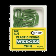 Plastic green Wedges, thin, 40 pcs