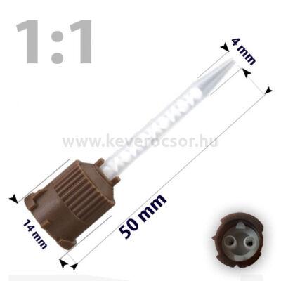Keverőcsőrök, 50 db, barna, csúcsos, 1:1, 50 mm