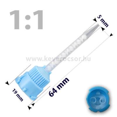 Keverőcsőrök, 50 db, kék, csúcsos, 1:1, 64 mm