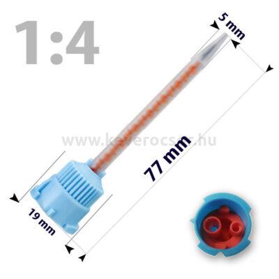 Keverőcsőrök, 50 db, kék-narancs, csúcsos, 1:4, 77 mm