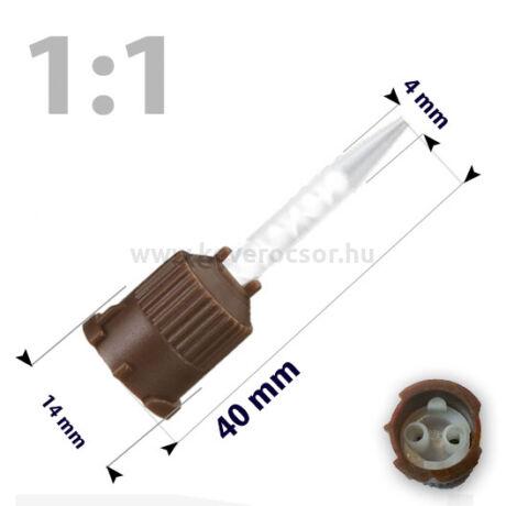 Keverőcsőrök, 50 db, barna, csúcsos, 1:1, 40 mm