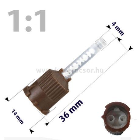 Keverőcsőrök, 50 db, barna, nem csúcsos végű, 1:1, 36 mm