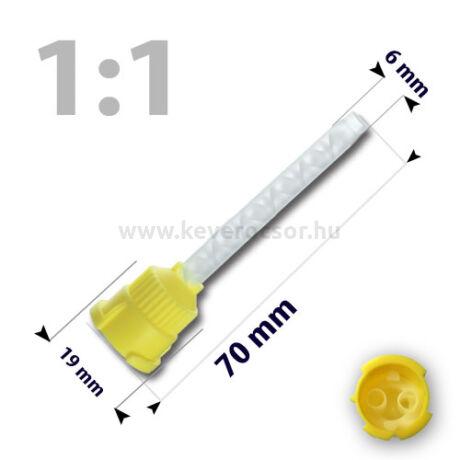 Keverőcsőrök, 50 db, sárga, nem csúcsos, híg A-szilikonokhoz, 1:1, 70 mm