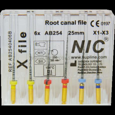 X-file (Protaper Next) set X1-X3 ( 6 gépi tű), 25 mm, M-wire NiTi