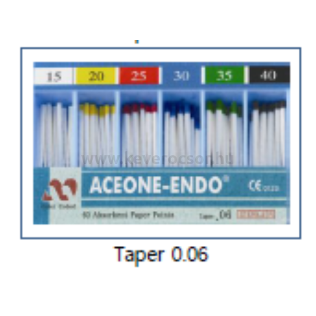 Papír poén, 60 db, több méretben, színjelzett  (Taper 0.06)