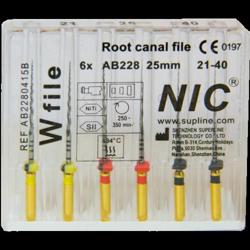 W-file (Waveone) set 21-40, 25 mm, 6 db gépi tű, M-wire NiTi