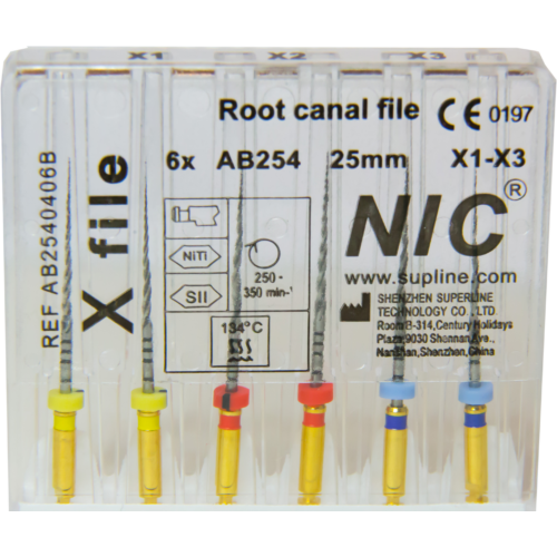 X-file (Protaper Next) set X1-X3 ( 6 gépi tű), 25 mm, M-wire NiTi