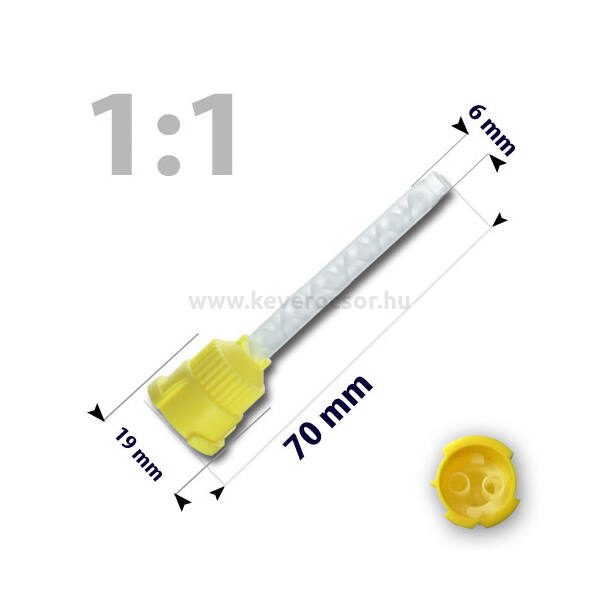 Keverőcsőrök, 50 db, sárga, nem csúcsos, híg A-szilikonokhoz, 1product, 70 mm
