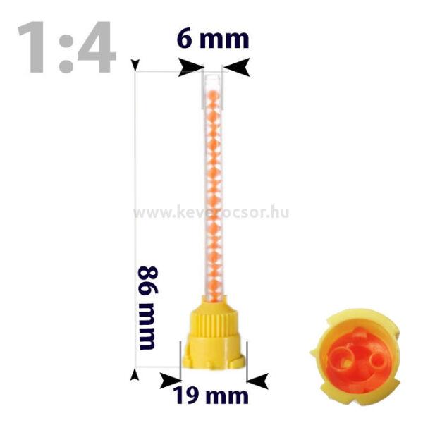 Keverőcsőrök, 50 db, sárga, 1:4, 86 mm