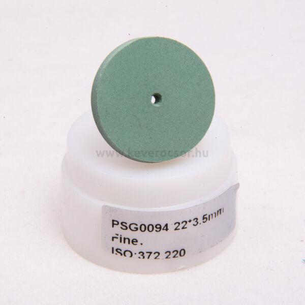 Gumi polírozó, zöld, 10 db malomkő, közép-kemény, 22x3mm, mandrel nélkül, ISO: 372 524, 20-30 000 rpm