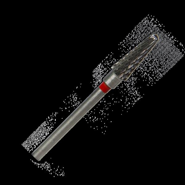 Karbid frézer, 1 db, HP, piros, lekerekített kúp alakú, L040FX, fém-, műanyag- és gipsz alakításhoz