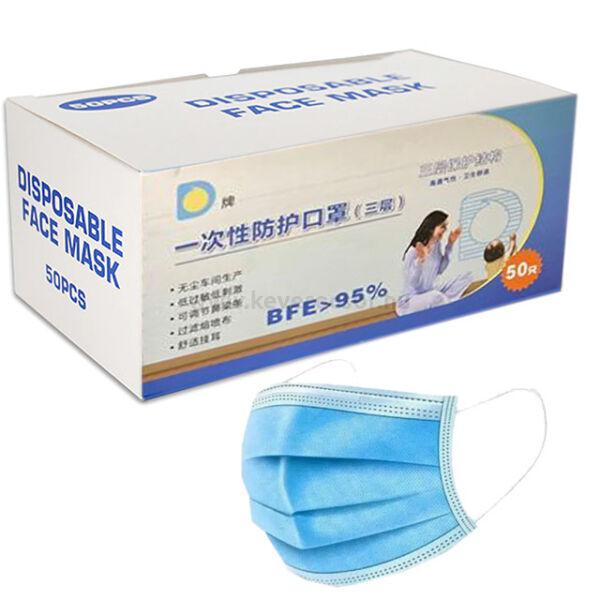 Westcode 3 rétegű gumis arcmaszk, kék színű, 50 db/doboz