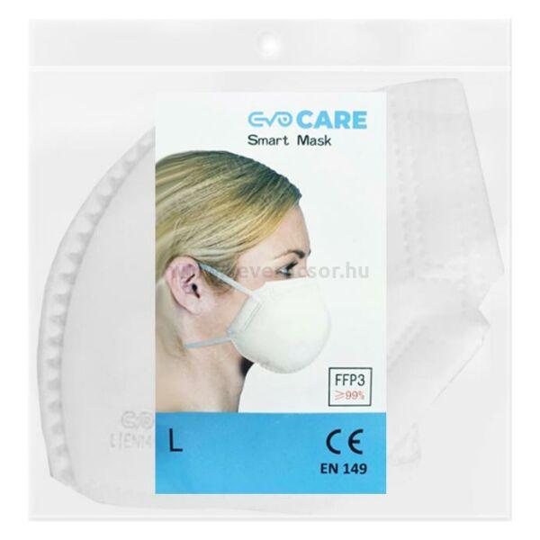 FFP3 maszk, EVO CARE SMART, 1 db, fehér, gumipántos, szelep nélküli, 99%-os szűrés