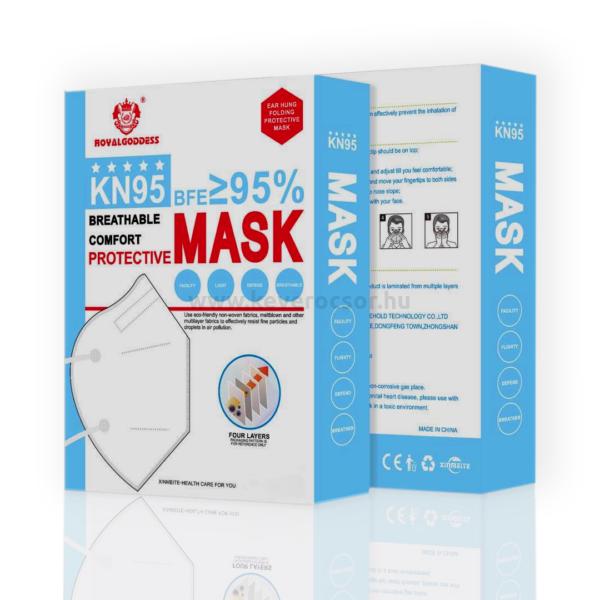 20db - KN95-ös (FFP2) arcmaszk, fehér, gumis, nem szelepes (dobozos kiszerelés)