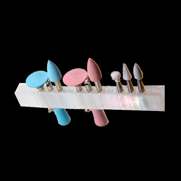 Kompozit polírozó készlet, 9 db/doboz, RA, (3 arkansas és 6 gumi)