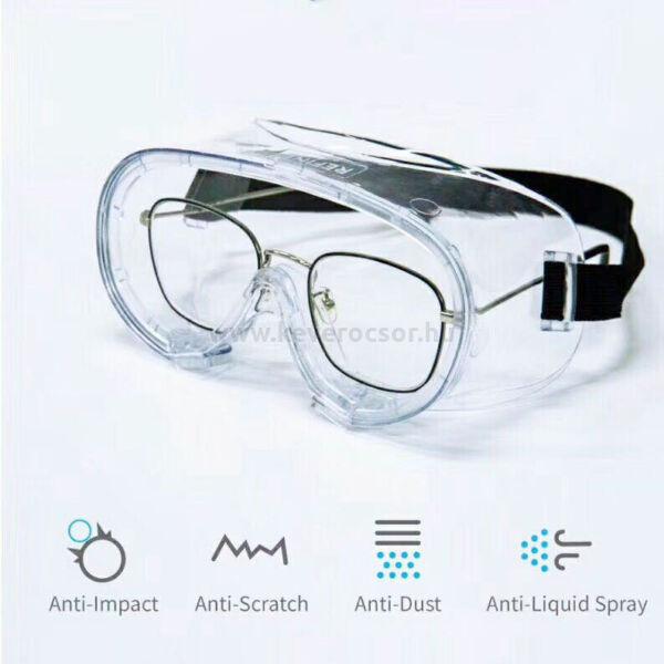 Vírus ellen is védő transzparens védőszemüveg, REFINE, (csak alkohollal tisztítható) gumis, 1 db