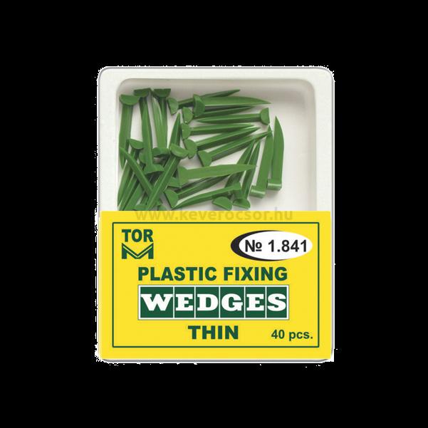 TOR - Műanyag ék, vékony, zöld, 40 db