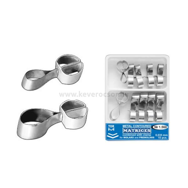 TOR - ROPPANTÓGYŰRŰS FÉM DOMBORÍTOTT MATRICA, molarisokhoz és premolárisokhoz. 5. tipus, 0,035mm, 5-5 DB
